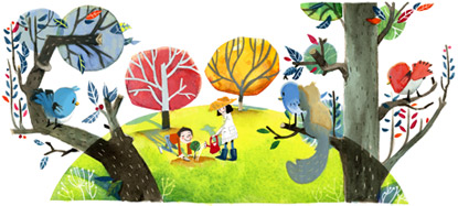 Google Logo: 2012 Arbor Day in China