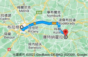 從布拉格 捷克前往庫特納霍拉 捷克的路徑地圖